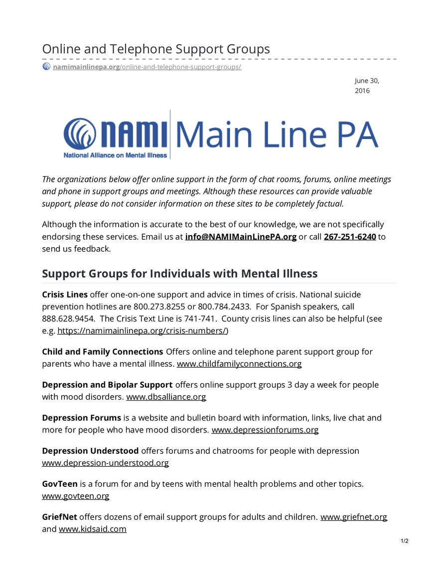 online and telephone support groups