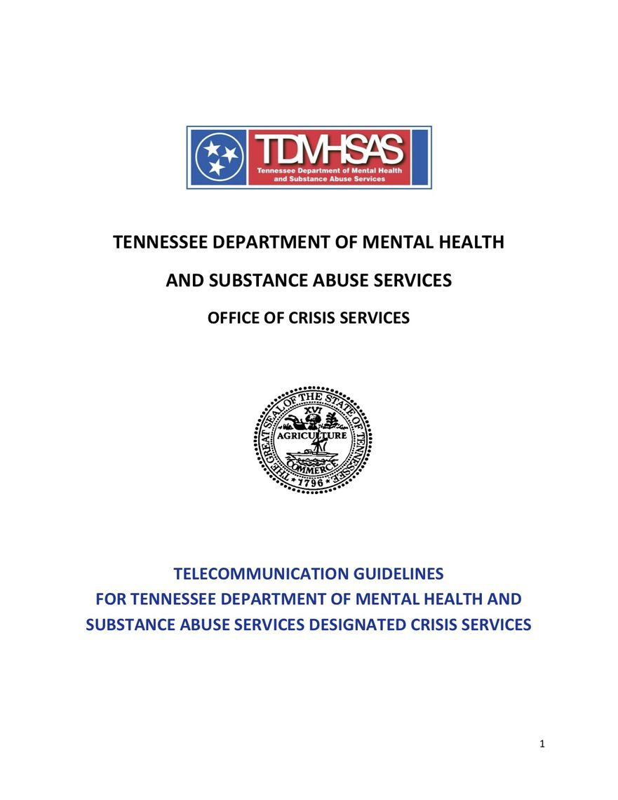 telecommunication guidelines for tennessee department of mental health and substance abuse services designated crisis services