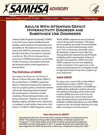 advisory adults with attention deficit hyperactivity disorder and substance use disorders