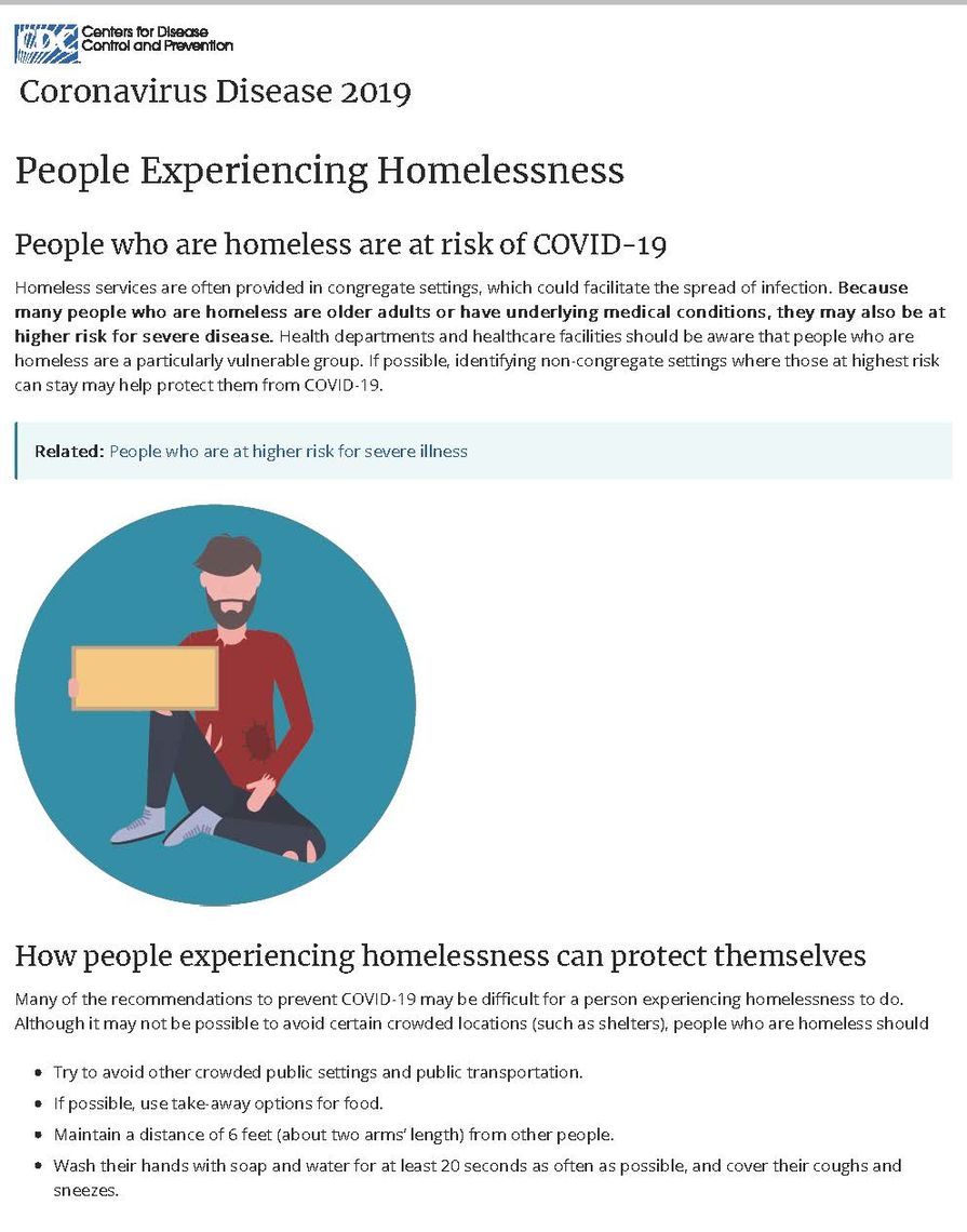 people experiencing homelessness  cdcpic page 1