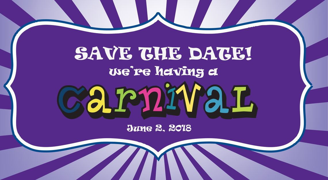 carnival save the date emblem thinner