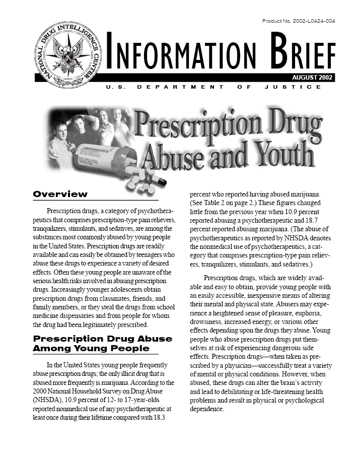 information brief prescription drug abuse and youth