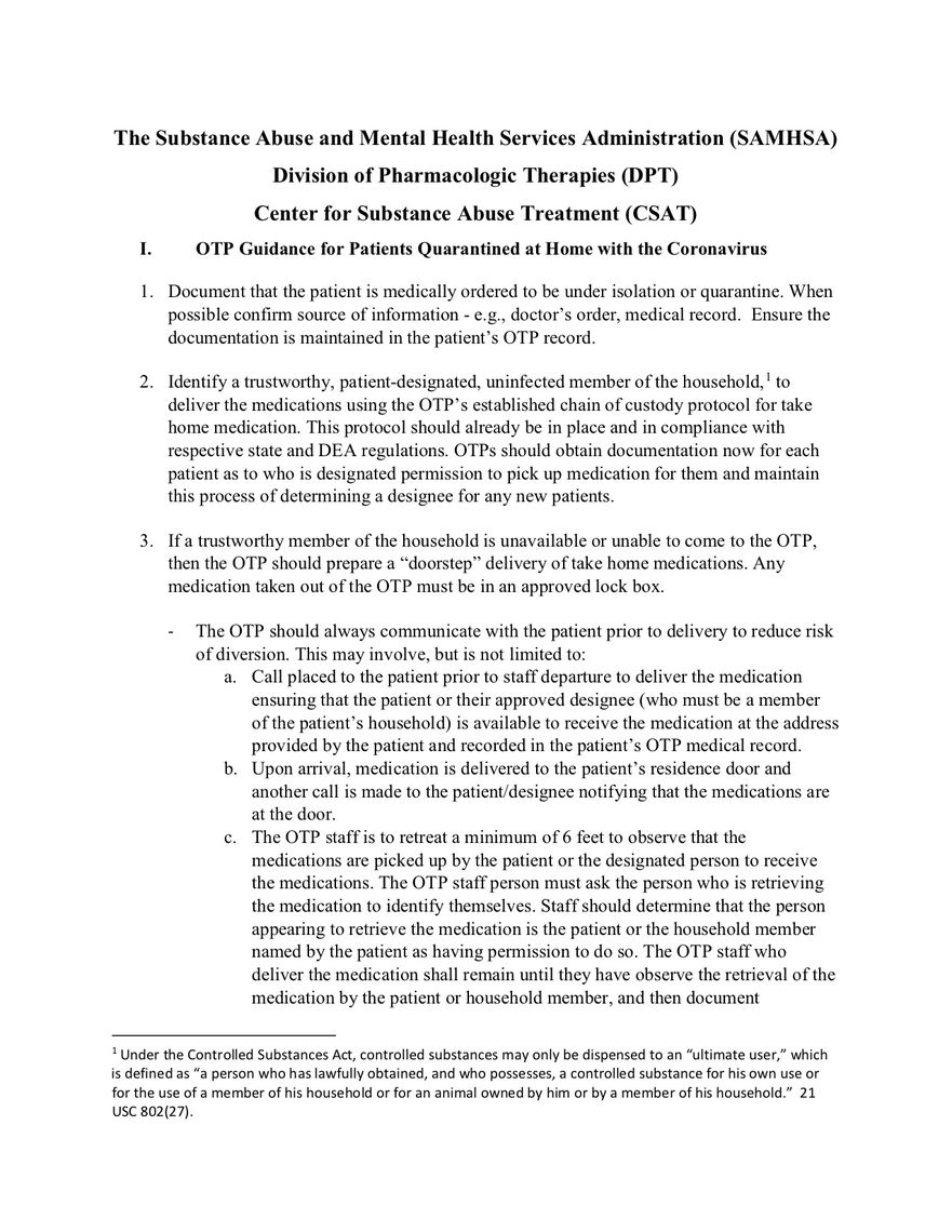 otp covid implementation guidance