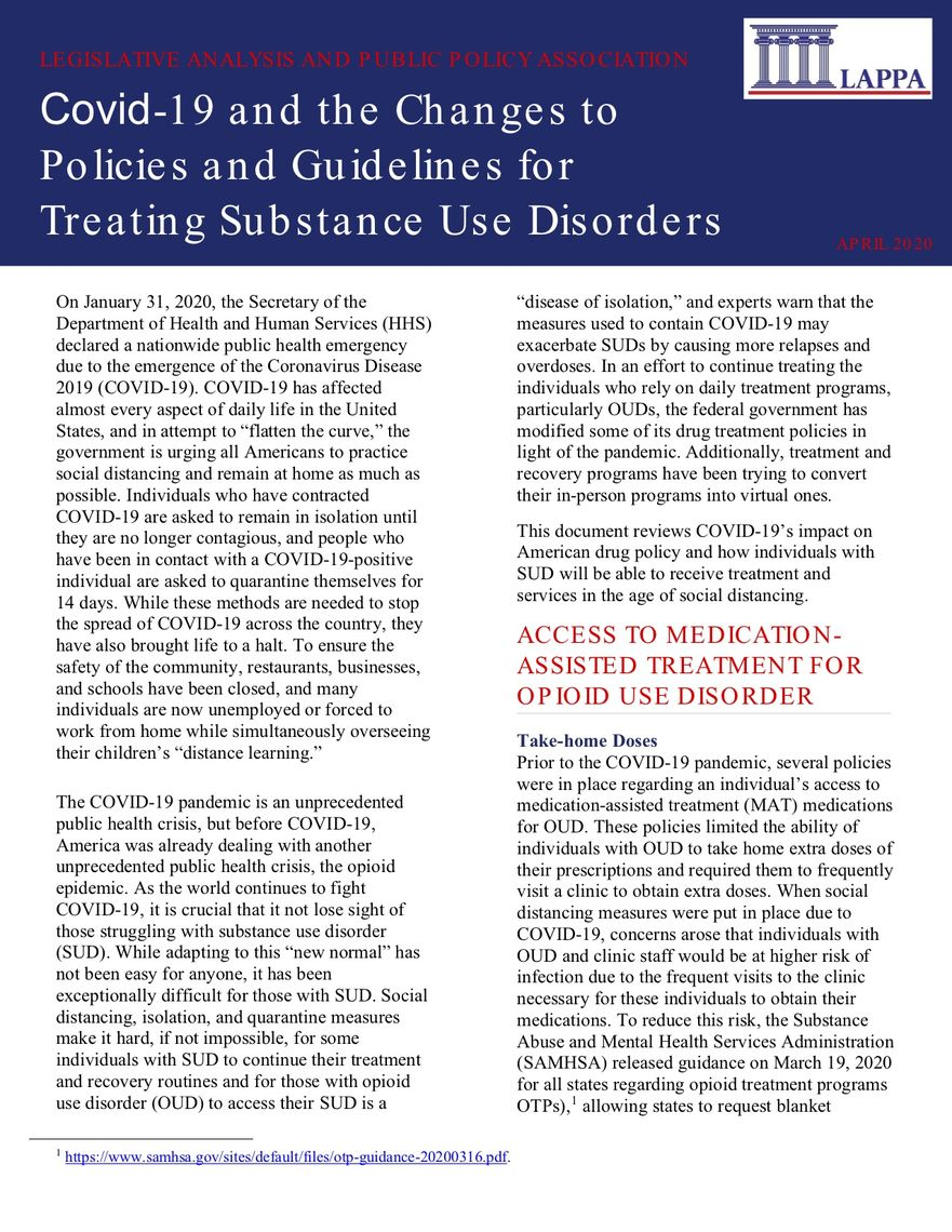 covid and the changes to policies and guidelines for tx sud