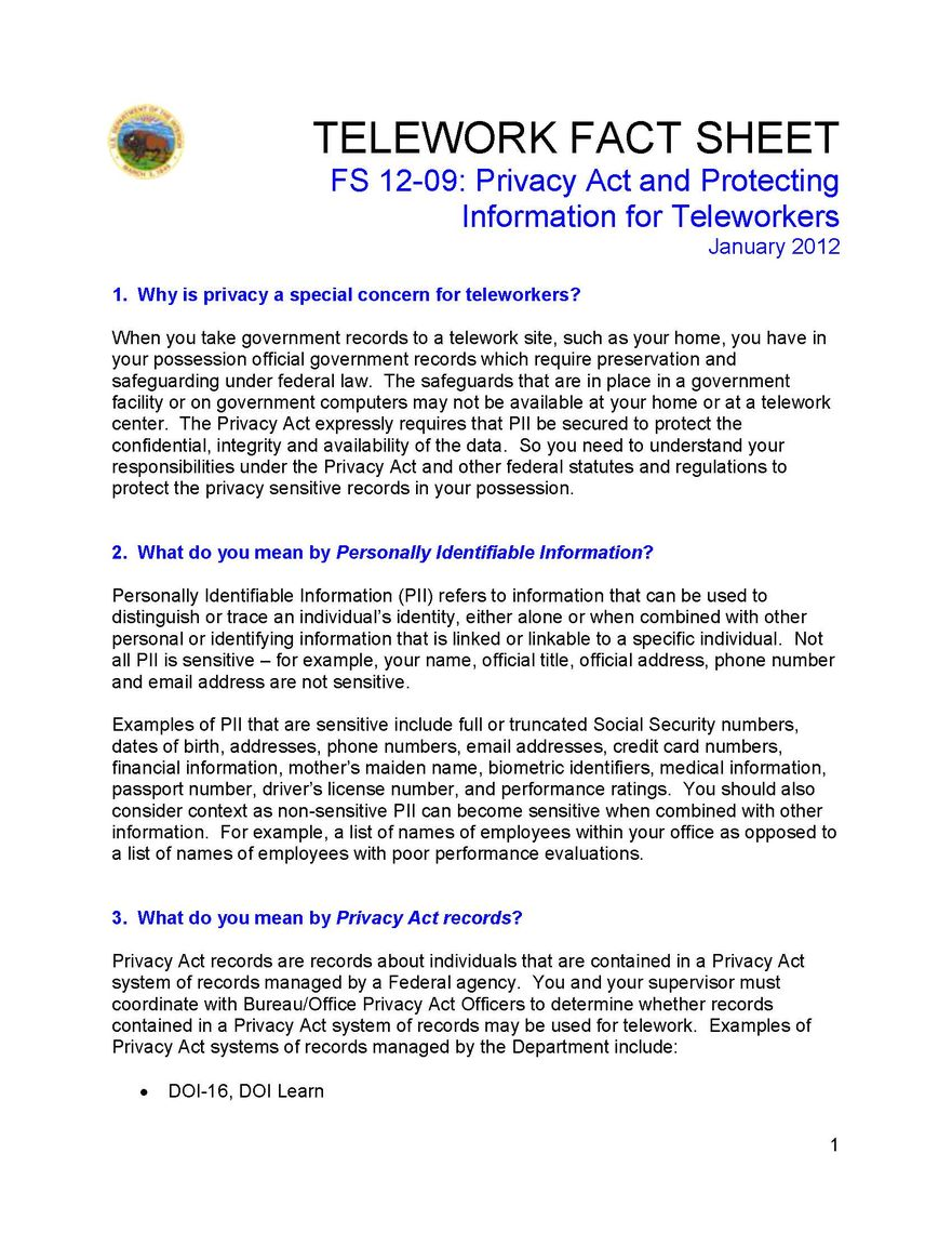 privacy act and protecting information for teleworkers page 1