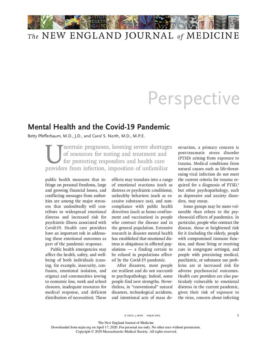 mental health and the covid 19 pandemic